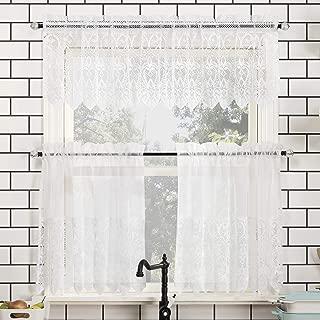 No. 918 Joy Macrame Lace Trim Semi-Sheer Rod Pocket Kitchen Curtain Valance and Tiers Set, 60