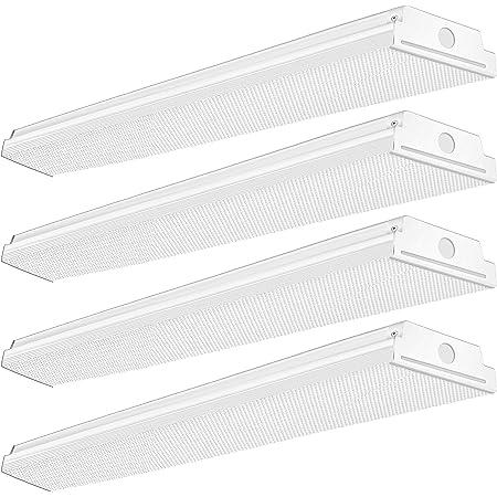 TychoLite 4FT Led Wraparound Light 40W 4 Foot Led Light Fixture, 4800 Lumens, 4000K Neutral White, 48 Inch Led Shop Lights Flush Mount for Garage, 120W Fluorescent Equivalent, 4 Pack