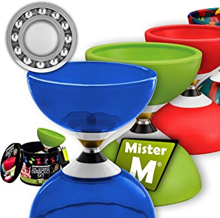 Ball Bearing Diabolo with 3 Ball Bearings + Sticks + Extra String + Free Online Video - Extra Quiet, Super Spin. Designed by Mister M/The Ultimate Diabolo Set