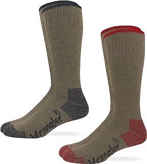 Wrangler Mens Moisture Wicking Merino Wool Blend Full Cushion Tall Boot Work Socks 2 Pair Pack