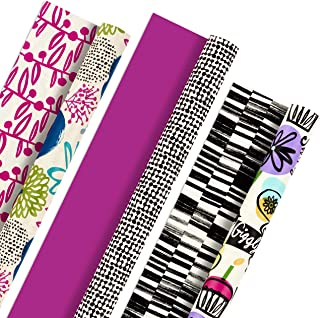 Hallmark Reversible Wrapping Paper (Bold and Bright Florals, Pack of 3, 120 sq. ft. ttl.) for Birthdays, Bridal Showers, Baby Showers, Mothers Day and More