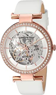 Kenneth Cole New York Women's 'Auto' Quartz Brass-Plated-Stainless-Steel and Leather Dress Watch, Color:White (Model: KC15107001)