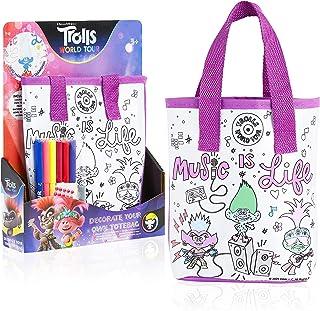 TROLLS Bolsas de Tela para Colorear Niños, Kit Manualidades Niños con Rotuladores de Colores y Pegatinas, Detalles Fiesta Cumpleaños Infantil, Regalos para Niños Niñas 3+