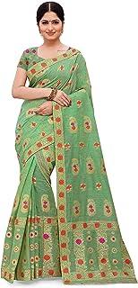 SKiran's Assamese Weaving Linen Cotton Mekhela Chador Saree - Dn3963 Mekhla Sador (Parrotgreen and Red)