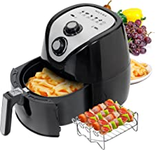 Secura 1500W Large Capacity 3.2-Liter, 3.4 QT, Electric Hot Air Fryer & Additional Accessories; Recipes, BBQ Rack & Skewers (Renewed)