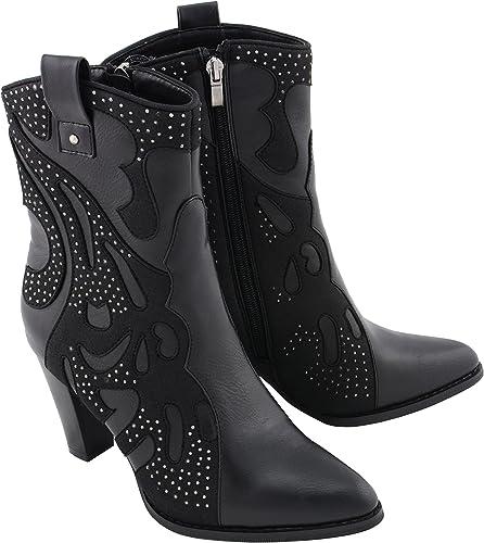 Milwaukee Performancefemmes Chaussures de Style Western avec Clouté Bling Noir Noir 7 B(M) US