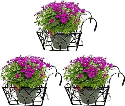 NAYAB Iron Lotus Design Large Hanging Baskets Flower Pot Plant Stand Holder Without Pots for Railing Fence Balcony Ga...