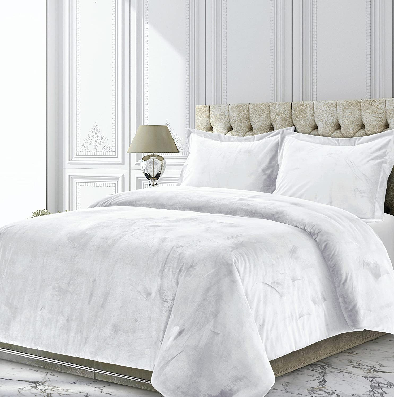Tribeca Living VENICEDUVETKIWH Venice Velvet Oversized Solid Duvet Set, King, White