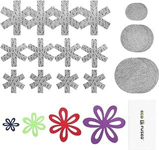 Protectores de Ollas y Sartenes Eco-Fused – 64 Piezas – 4x En forma de Flor, 12x Protectores de Ollas y Sartenes en Forma de Nieve, 48x Separadores de Platos Redondos – Previenen Rayones y Daños