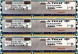 A-Tech Hynix 12GB Kit 3X 4GB PC3-10600 1.5V for Dell PowerEdge M710hd M820 M915 A3721494 R410 R420 R515 A3721500 R520 R610 R620 A3721505 R715 R720 R720xd Snpp9rn2c/8g R810 R815 A2626072 Memory RAM