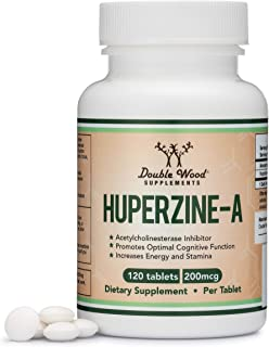 Huperzine A 200mcg (Third Party Tested) Made in The USA, 120 Tablets, Nootropics Brain Supplement to Boost Acetylcholine, Improve Memory and Focus by Double Wood Supplements
