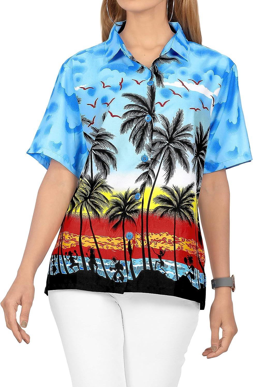 LA LEELA Women's Palm Tree Hawaiian Shirt Button Down Short Sleeve Shirt