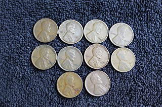 1920-1929 Lot of 10 Lincoln Wheat Cents - All Different Dates/Mint Marks/Grades Penny Grab Bag