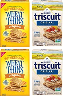 Wheat Thins Original and Triscuit Original Crackers Variety Pack, Holiday Christmas Crackers, 4 Boxes