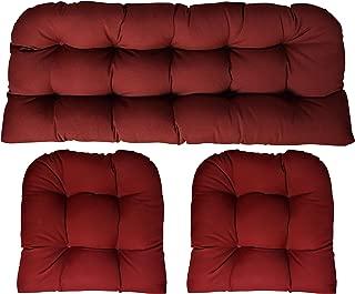 RSH DECOR Sunbrella Canvas Burgundy 3 Piece Wicker Cushion Set (41
