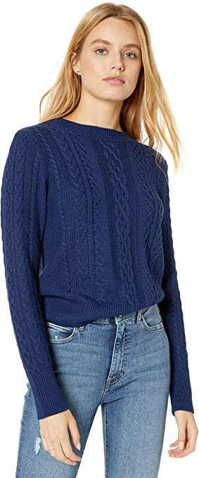 The Drop Women's Kat Cable Stitch Crew Neck Sweater