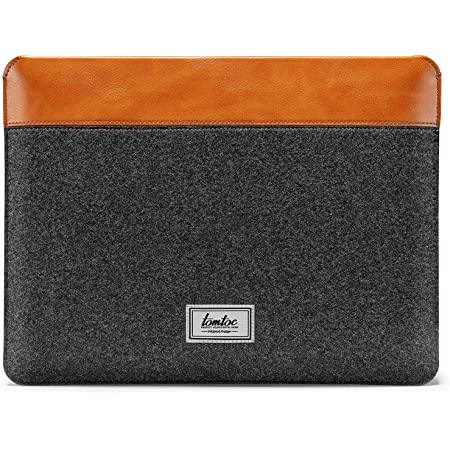 tomtoc Slim Laptop Sleeve for 13-inch MacBook Air M1/A2337 A2179 A1932 2018-2021, 13 Inch MacBook Pro M1/A2338 A2251 A2289 2016-2021, Dell XPS 13, Surface Pro X/7/6/5, Felt & PU Leather Accessory Case