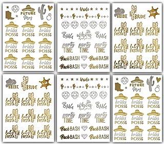 Bachelorette Fiesta Bride Metallic Tattoos - Over 100 Bride Tribe Temporary Tattoos (6 Sheets)