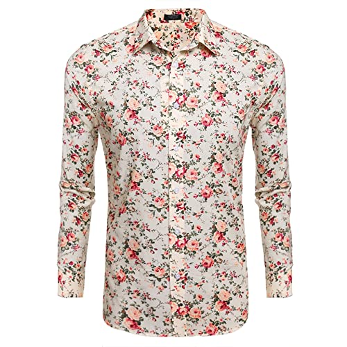 9ca84b40bc63 COOFANDY Men s Floral Print Slim Fit Long Sleeve Casual Button Down Shirt