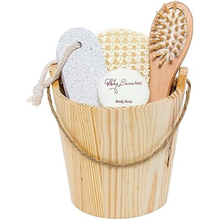 BRUBAKER Cosmetics - Coffret de bain & bien-être - 5 Pièces - Baquet en Bois - Idée cadeau Femme / Homme