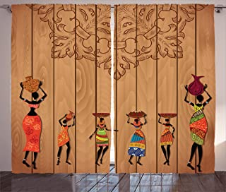 Ambesonne African Curtains, Ancient African Girl Images on Vintage Wooden Texture Ethnic Female Fashion Art Concept, Living Room Bedroom Window Drapes 2 Panel Set, 108 W X 84 L Inches, Multicolor