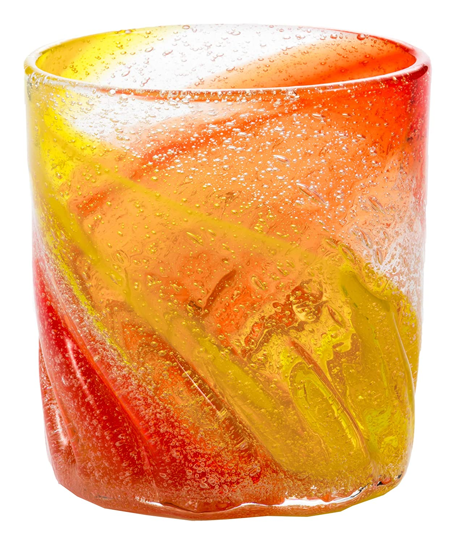 半円印象確認してくださいRGC ビーチグラス (オレンジ/黄) 7.5×8.5cm 琉球ガラス