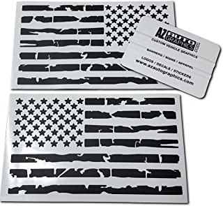 Az Auto Graphics Pair US Distressed American Flag Decal Sticker Die-Cut Grunge Car Truck Subdued Tattered Military (Matte Black)