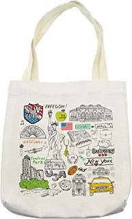 Lunarable American Tote Bag, New York Culture Metropolitan Museum Broadway Crossroad Wall Street Sketch Style, Cloth Linen Reusable Bag for Shopping Groceries Books Beach Travel & More, Cream