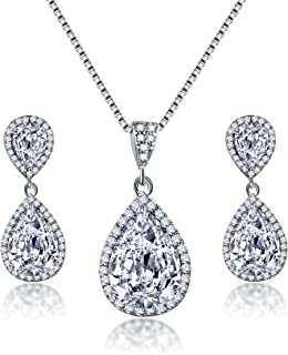 Elegant Jewelry Set for Women - Silver Teardrop Clear Cubic Zirconia Crystal Rhinestone Drop Earrings and Necklace Bridal Jewelry Sets Best Gift for Bridesmaids