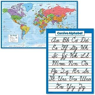 "2 Pack - World Map Poster [Blue Ocean] & Cursive Handwriting ABC Alphabet Chart (Laminated, 18"" x 24"")"