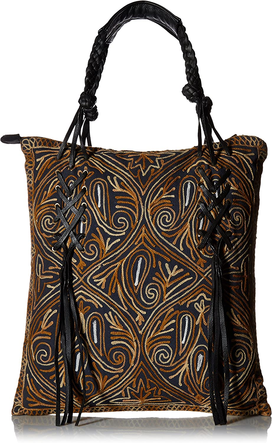 'ale by alessandra Women's Bambou Embroidered Tote With Genuine Leather Accents