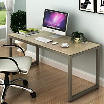 SHW Home Office 55-Inch Large Computer Desk, Silver Frame W/Grey Top