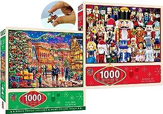 Master Pieces 1000 Piece Christmas Holiday Puzzles Village Square & Nutcracker Suite Gift Set Bundle - 2 Pack