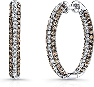 526554079 Victoria Kay 1ct Brown Diamond and 3/8ct White Diamond Hoop Earrings in Sterling  Silver