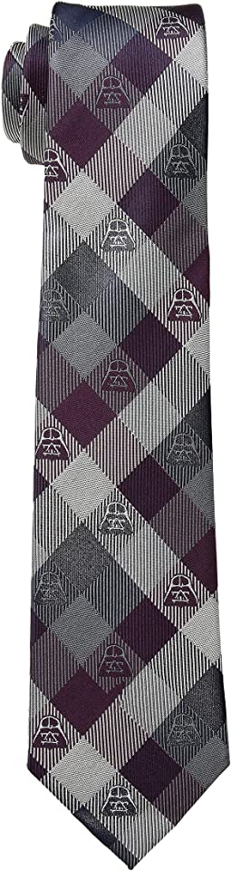 Darth Vader Plum Modern Plaid Tie