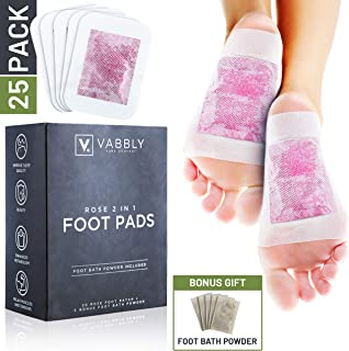 Vabbly Foot Pads - Rose Aroma Bamboo Vinegar 20x Pads, with Free Feet Bath Soak - Premium Sore Feet Relief, Soothe Pain, Odor and Revive Your Tired Sole