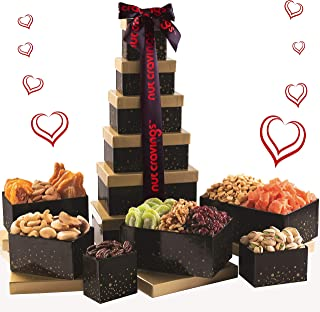 Gourmet Nut & Dried Fruit Red Tower Gift Basket (12 Variety) - Healthy Food Arrangement Platter, Birthday Edible Care Package Tray - Fathers Day Snack Box for Dad, Adults, Women & Men - Prime Delivery
