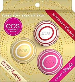 EOS Holiday 2019 Super Soft Shea Lip Balm Kit - Limited Edition (3 Pcs Set: Whipped Vanilla Frosting, Peppermint Cream, Cherry & Bright)