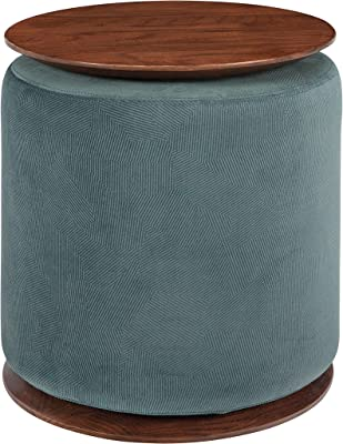 Coaster Home Furnishings Seanna Round Ottoman Teal and Walnut Accent Table