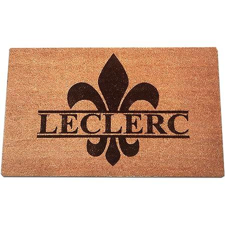 Amazon Com Fleur De Lis Personalized Laser Engraved Coir Fiber Welcome Doormat 30 X 18 Kitchen Dining