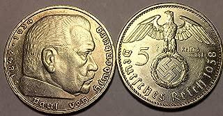 1936 DE - 1939 Nazi German Five Reichsmark WWII $5 Reichsmark Choice Very Fine Details