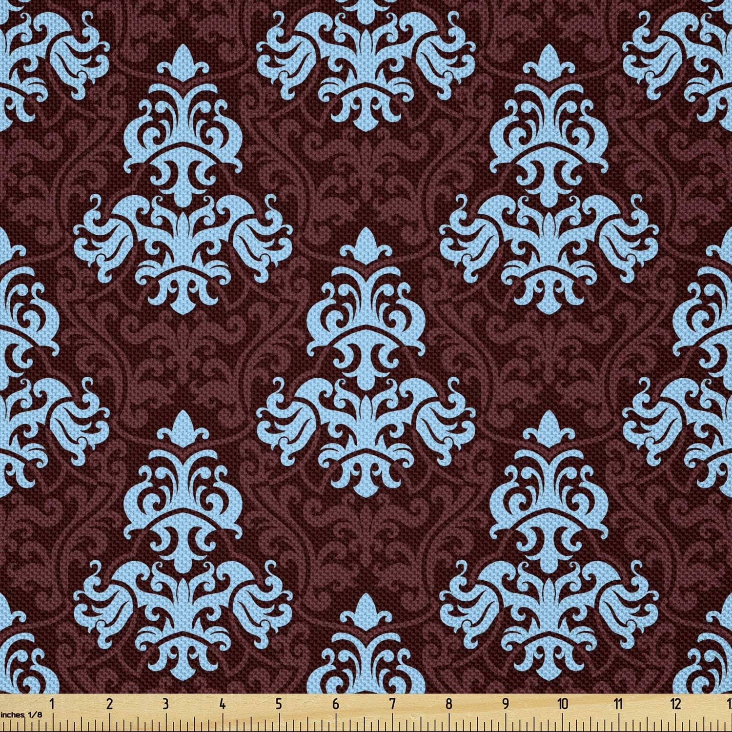 Ambesonne Brown and Blue Popularity Fabric by F Yard Antique Sacramento Mall Victorian The