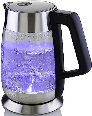 Ovente Hervidor de agua eléctrico de 1.5litros, de vidrio, libre de BPA, sin cable, Acero inoxidable, Temperature control, 1
