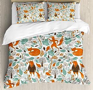 Ambesonne Fox Duvet Cover Set, Funny Sleeping Fashion Fox Falling Autumn Leaves Graphic Garden, Decorative 3 Piece Bedding...
