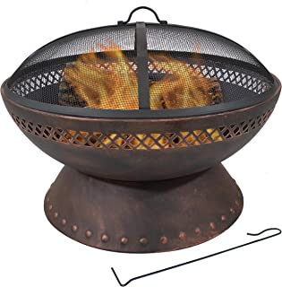 Sunnydaze 25-Inch Diameter Chalice Steel Outdoor Wood Burning Fire Pit with Spark Screen and Poker - Outside Metal Backyard Bonfire Patio Fire Bowl Kit with Copper Finish
