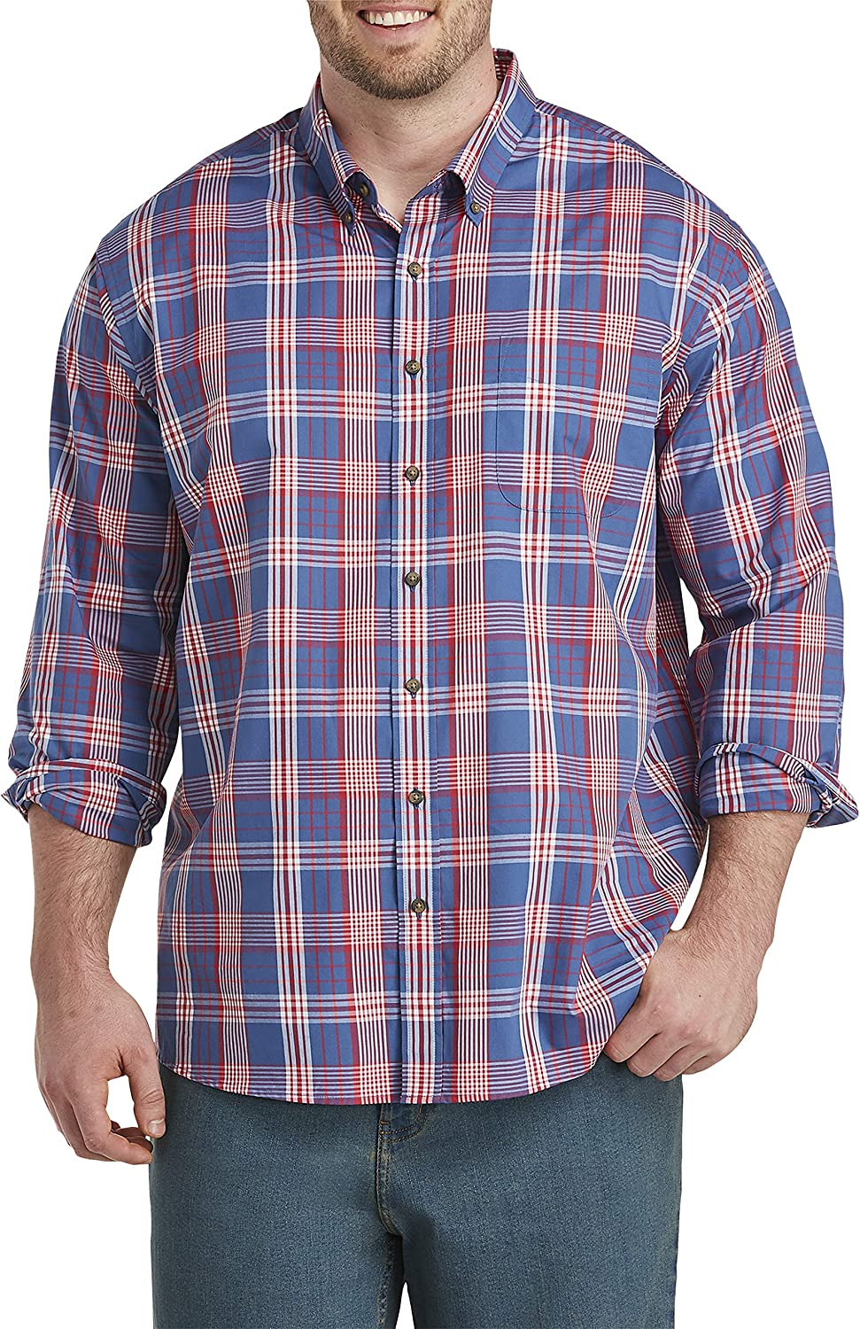 Harbor Bay by DXL Big and Tall Easy-Care Plaid Sport Shirt, True Navy