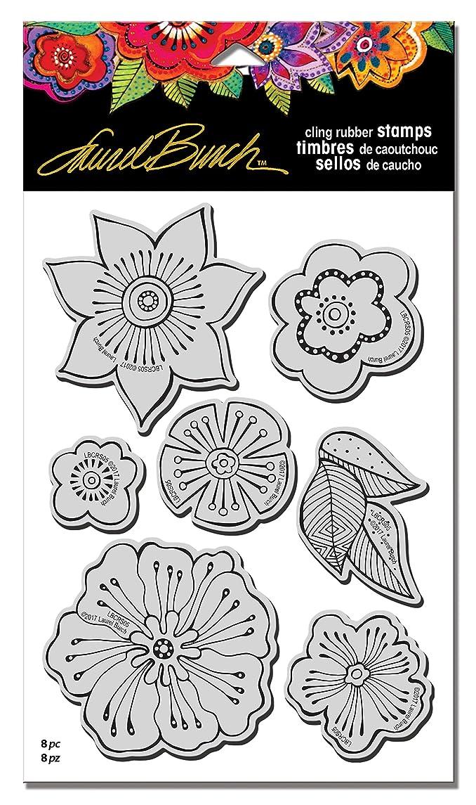 STAMPENDOUS Rubber Set, Template Laurel Burch Stamps Blossoms w/Templ