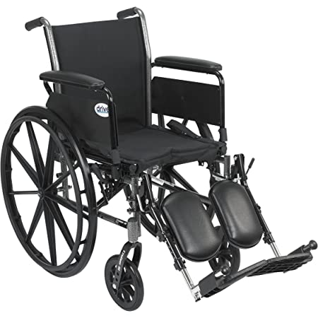Drive Medical K320DFA-ELR Cruiser III Light Weight Wheelchair with Various Flip Back Arm Styles and Front Rigging Options, Flip Back Removable Full Arms/Elevating Leg Rests, Black, 20 Inch