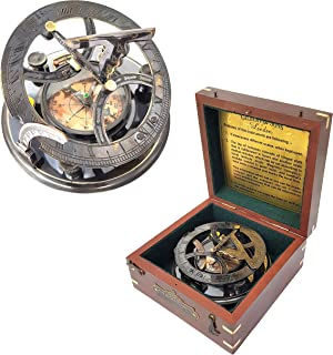 Brass Nautical - 5 inches Large Sundial Compass in Rosewood Case Top Grade Calibrated Vintage Gift