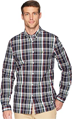 Long Sleeve Slim Fit Poplin Stretch Casual Button Down w/ Plaid Print